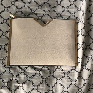 Handbags - Tan and gold snakeskin embossed clutch